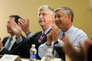 Rep. Fred Upton (R-MI) with Dr. Francis Collins, the Director of the National Institutes of Health, at a #Cures2015 roundtable discussion
